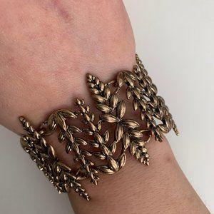 Vintage wheat pattern gold adjustable bracelet